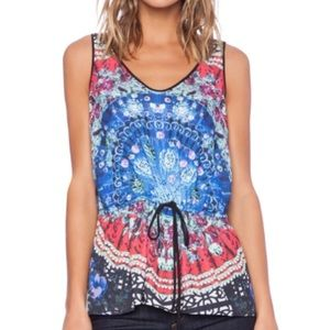 Clover Canyon Spanish fan abstract tank top. Sz S